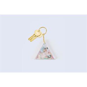 Aqua White Glitter keychain