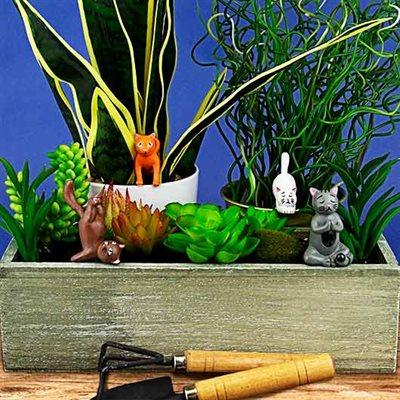 Mini Plant Pot Yoga Cats